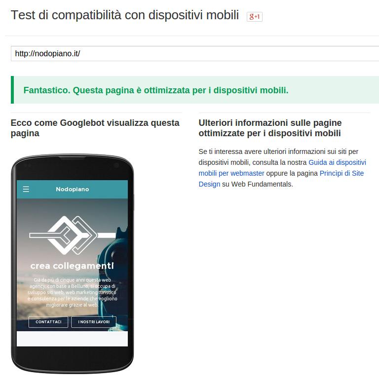 test sito web ottimizzato mobile