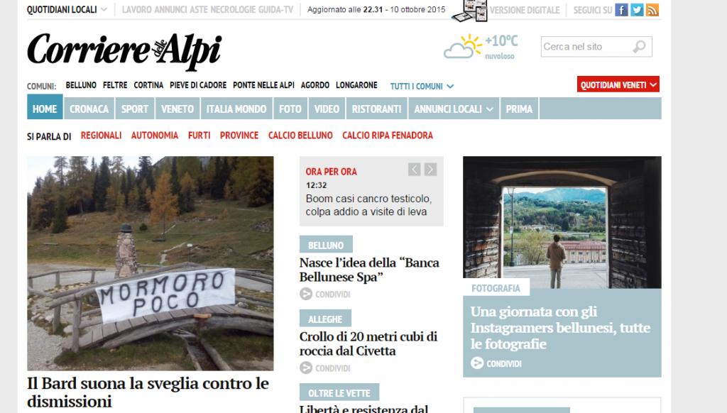 Instameet Belluno sulla homepage del Corriere delle Alpi